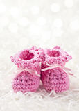 Pink baby crochet shoes Royalty Free Stock Images