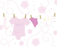 Pink baby designs - baby clothes Royalty Free Stock Images