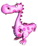 Pink baby dragon worrying about Royalty Free Stock Image