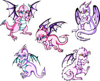 Pink baby dragons Royalty Free Stock Photography