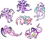Pink baby dragons Stock Photography