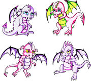 Pink baby dragons Stock Image