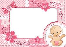 Pink baby frame. Royalty Free Stock Image