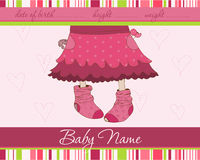 Pink Baby girl arrival announcement card. With funny socks Royalty Free Stock Photography
