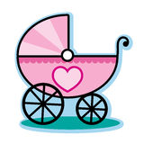 Pink baby girl carriage buggy Royalty Free Stock Images