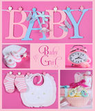 Pink Baby Girl Collage. Collage of five pink theme baby girl images and sample text of BABY letters bunting hanging from pegs on a line, booties and bonnet Royalty Free Stock Image