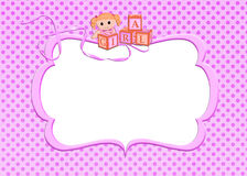 Pink baby girl frame Royalty Free Stock Images