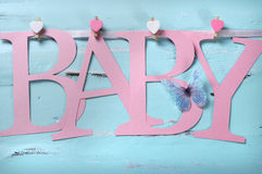 Pink baby girl nursery letters bunting Royalty Free Stock Images