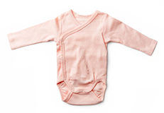 Pink baby girl's bodysuit isolated on white Royalty Free Stock Images
