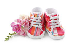 Pink baby girl shoes Royalty Free Stock Images