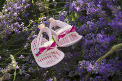 Pink baby girl shoes in lavender field Stock Images