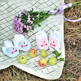 Pink baby girl shoes. On nature backgrond Stock Photos