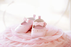 Pink baby girl shoes Stock Photo