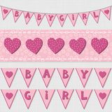 Pink baby girl shower birthday flags and ribbon bunting set Royalty Free Stock Image
