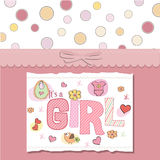 Pink baby girl shower card. Baby girl shower card with bird Stock Photos