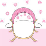 Pink baby girls crib Stock Photo
