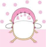 Pink baby girls crib. Cute pink baby girls crib Stock Photo