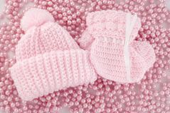 Pink Baby Hat And Booties For Girl Stock Photo