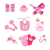 Pink Baby Icons. Icon illustration of baby items such as baby monitor, pram, cup, rattle, bib, bottle, nappy pin, pacifier, etc Stock Images