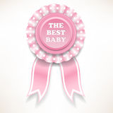Pink baby order of the white polka dots. vector illustration Stock Photography