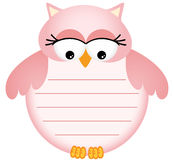 Pink Baby Owl with Label Royalty Free Stock Images
