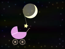Pink baby pram at night Royalty Free Stock Images