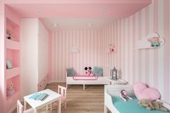 Charming baby-girl room in pink. With striped wall and white furniture stock photos