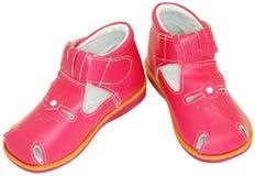 Pink baby sandals Stock Photos