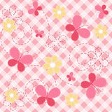 Pink baby seamless with butterfly. vector illustration