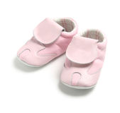 Pink baby shoes. A pair of pink baby shoes Stock Photography