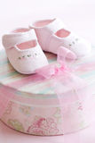 Pink baby shoes. Pink corduroy baby shoes for a baby girl stock photography