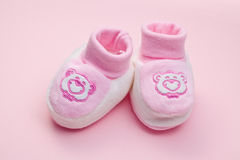 Pink baby shoes royalty free stock photo