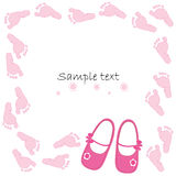 Pink baby shoes baby arrival card vector Royalty Free Stock Photography