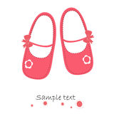 Pink baby shoes newborn greeting card vector. Baby shoes newborn baby shower greeting card vector royalty free illustration