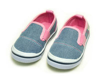 Pink baby shoes sneakers. On White background Stock Photography