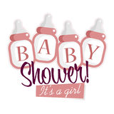 Pink Baby Shower Bottles vector illustration