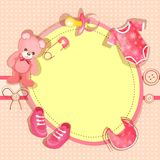 Pink baby shower card. With baby girl elements Royalty Free Stock Photo
