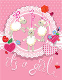 Pink baby shower card with sheep and hearts Stock Photo