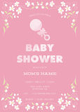 Pink Baby Shower Invitation Template with abstract flowers and watercolor text and rattle Royalty Free Stock Photo