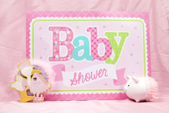 Pink Baby Shower. A pink baby shower sign to celebrate the upcoming birth Stock Image