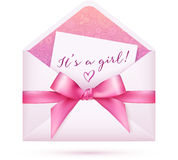 Pink baby shower vector envelop with bow Royalty Free Stock Photos