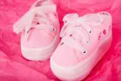 Pink Baby Sneakers Royalty Free Stock Photos