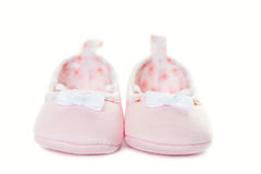 Pink baby sneakers closeup isolated Royalty Free Stock Image