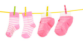 Pink baby socks Stock Photography