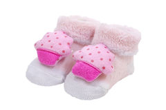 Pink baby socks, on white background Stock Image