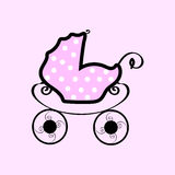 Pink baby stroller with polka dots Stock Photo
