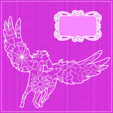 Pink backdrop with pegasus Royalty Free Stock Image
