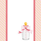 Pink background with baby bottle milk and ribbon. Scalable vectorial image representing a pink background with baby bottle milk and ribbon Stock Images