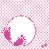 Pink background with baby footsteps. Pink tablecloth background with baby footsteps Stock Photography