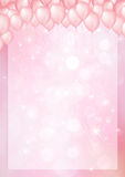 Pink background with balloon header and border Royalty Free Stock Image